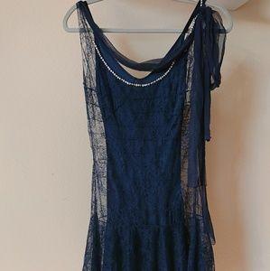 Vntg. Navy BLUMARINE 2 layer mini dress